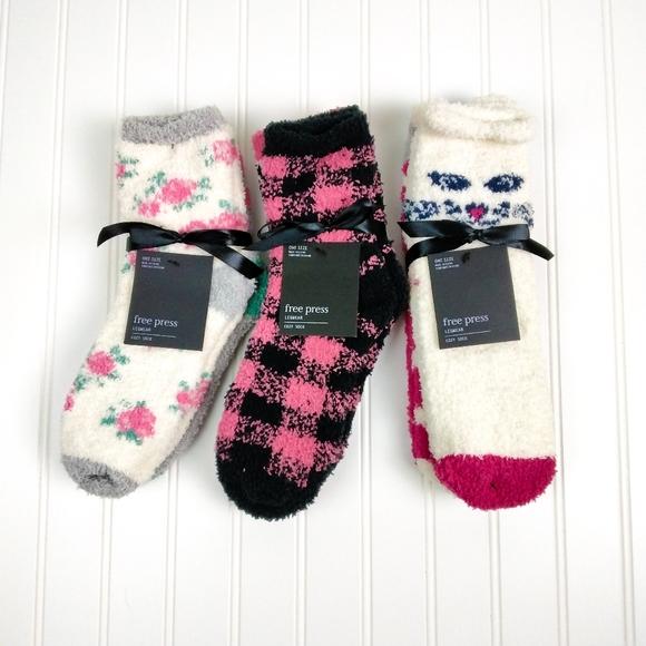 Free Press Six Pairs Plush Cozy Socks Pnk One Size